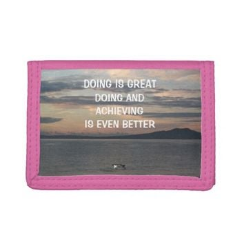 Achieving Photo Quote by Kat Worth Tri-fold Wallets