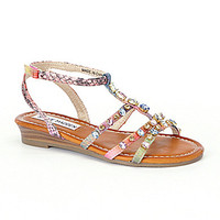 Steve Madden Girls' TGema Casual Wedge Sandals - Pastel/Multi