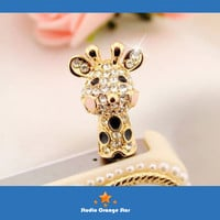 1PC Bling Crystal Tropic Animal Cute Giraffe Earphone Charm Cap Anti Dust Plug for iPhone 5, iPhone 4, Samsung S3