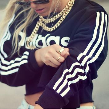 Adidas Fashion Short Shirt Crop Long Sleeve Top Blouse Tunic Sweater Pullover
