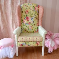 Large Patchwork Armchair in Sage and Pink Floral
