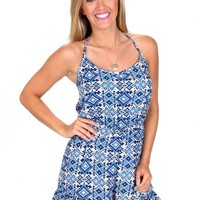 See You Again Blue And Ivory Romper | Monday Dress Boutique