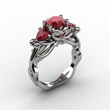 Nature Fairy 14K White Gold 1.0 Ct Round and Heart Ruby Three Stone Engagement Ring R1082-14KWGR