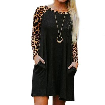 Women Leopard Print Casual Long Sleeve Evening Party Mini Dress