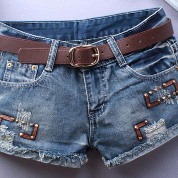 Sexy Hip Hop Rivet Leather Patch Ripped Short