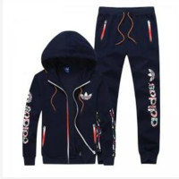 Adidas men and women tide brand casual fashion suits Dark blue