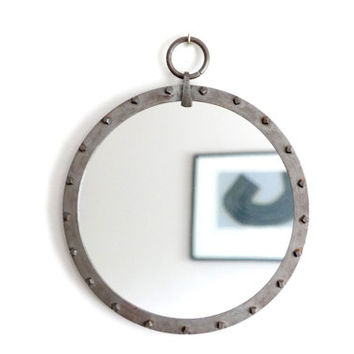French wrought iron work round mirror, 1950s / bathroom, wall hanging, bedroom, shabby chic, modernist, art deco