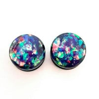 Multi color holographic plugs / 6g, 4g, 2g, 0g, 00g, 1/2, 9/16, 5/8 inch / holographic gauges / pretty plugs / black acrylic gauges