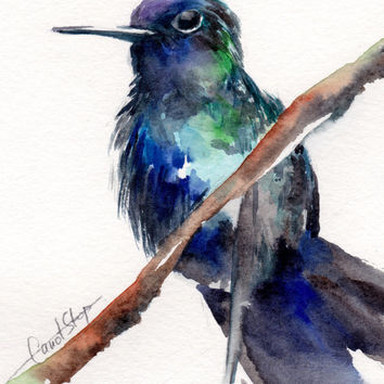 Hummingbird - Original Watercolor Painting, Bird Painting, Bird Watercolor, Bird Art, Watercolour Art
