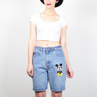 Vintage MICKEY MOUSE Denim Shorts 1990s Embroidered Blue Jean Shorts Disney Hipster 90s Soft Grunge High Waisted Shorts M Medium L Large