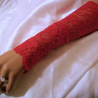 Beautiful And Sexy Red Lace Long Fingerless Gloves, Red Lace Arm Warmers, Women Accessories, Hand Warmers, Bridesmaid Gloves, Lingerie Glove