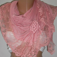 Pink  / Elegance  Shawl / Scarf with Lacy Edge..