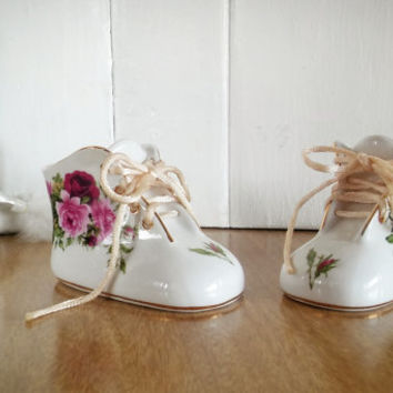 Vintage Porcelain Nantucket Baby Shoes, Victorian Porcelain Baby Slippers Nantucket