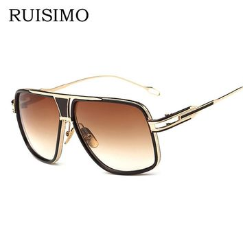 VISION Square Pilot Sunglasses Men Driving 2016 Male Luxury Brand Sun Glasses For Men Metal Designer Cool Shades MIRROR Oculos