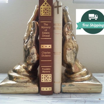 Large bookends, hands, brass gold praying metal heavy bookends, Free US Shipping