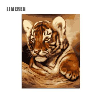 Little Tiger DIY Digital Painting By Numbers Modern Wall Art Canvas Painting Unique Gift For Art Wall Home Decor