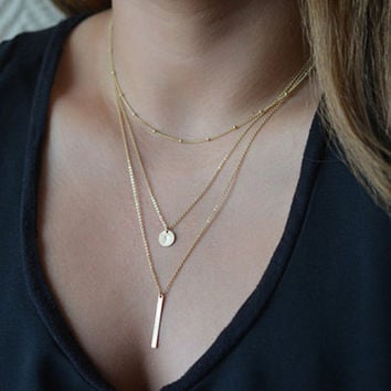 Gold Layered Chain Necklace with Bar & Coin