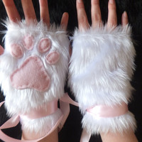 Cute White Furry Cat Snow Fox Neko Pink Paw Print Fingerless Gloves Wrist Warmers Halloween Costume