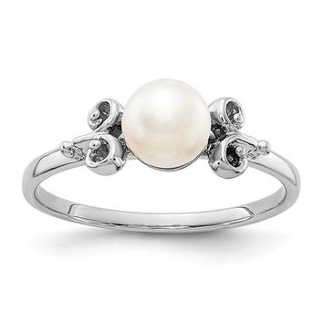 14k White Gold 5.5mm Freshwater Cultured Pearl Ring