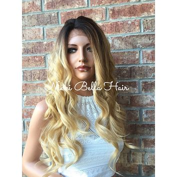 Kelly Rooted Ombre Blonde Human Hair Blend Lace Part Wig 22""