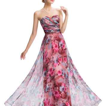Prom Dresses Under 50 Vestido Baile Sexy Strapless Flower Pattern Chiffon Ombre Dress 2016 Grace Karin Evening Party Prom Gowns - BRIDESMAID DRESSES BRIDAL GOWNS PROM