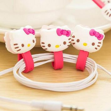 10pcs/lot Hello Kitty Kawaii Earphone Cable Manage Winder /Cable Holder Organizer for MP3 MP4 Phone Accessories