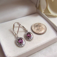 Rhodolite Garnet & Sterling Earrings Artisan Altered Vintage Genuine Gemstone Pierced Leverback