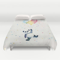 Panda Floating with Balloons Duvet Cover by Olechka
