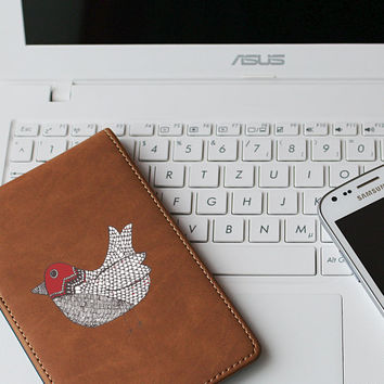 "Red Doodle Bird Die Cut Sticker // Woodland Decal // Cell Phone & Tablet Small Size // 3"" // Perfect For Indoor, Outdoor, Laptop, Car"