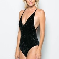 Crushed Rave Black Velvet Bodysuit