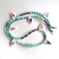 Long beaded necklace with hand embroidered pendants mint green, blues, and lavender colors asymmetrical design Spring fashion