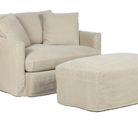Hugo Slipcovered Chair & Ottoman