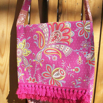 Pink Paisley with Fringe Handy Hip Bag for Book Laptop Cross Body  Shoulder Strap Bag