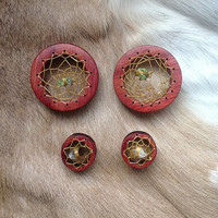 MADE TO ORDER Hand carved dreamcatcher wood eyelets plugs for gauged stretched ears