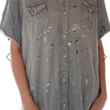 Magnolia Pearl Top 500 Denim Marfa Pearl Snap Workshirt~ Railroad