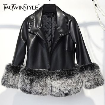 TWOTWINSTYLE Faux Fox Fur Patchwork PU Leather Jackets Women Long Sleeve Short Jacket Female Fashion Clothes Winter Tide