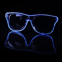 EL Wire Clear Blue Light Up Sunglasses : LED Wire Glasses and Shades from RaveReady