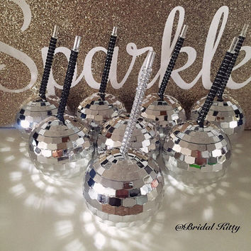 Bridesmaid Cups Bridal Party Gift Tumbler Bachelorette Party Cups w/ Custom Personalized Crystal Rhinestone Straw Birthday Disco Ball Cup
