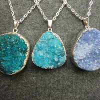 Druzy In Blues Silver Pendant Necklace/Turquoise/Aqua/Periwinkle/Choose Your Pendant