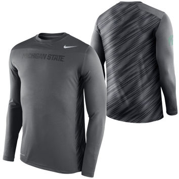 Michigan State Spartans Nike Speed Long Sleeve Performance T-Shirt – Anthracite