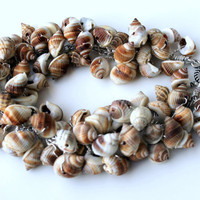 seashell bracelet wire wrapped Nutmeg seashells by UniqueNecks