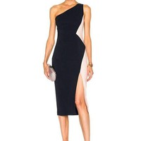 Color Block One Shoulder Bandage Dress