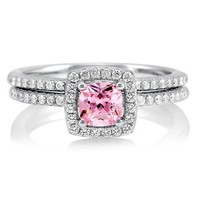 Cushion Pink CZ 925 Sterling Silver 2-Pc Halo Bridal Ring Set 0.46 ct #r576-PK