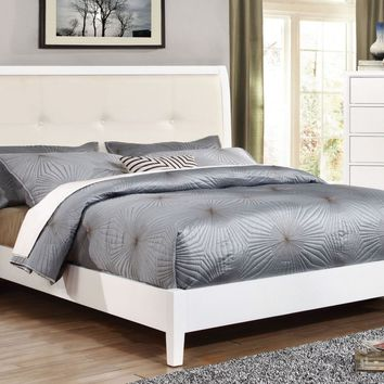 Wolson Contemporary Tufted Leatherette Eastern-King Bed in White