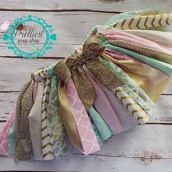Scrappy Skirt, Fabric Tutu, Cake Smash, First Birthday, Second Birthday, Photo Prop, Pink-Mint-Gold