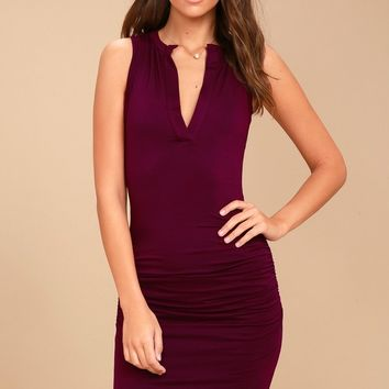 Hopes and Dreams Burgundy Sleeveless Bodycon Midi Dress