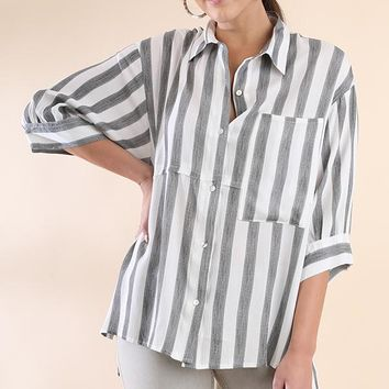 Umgee Striped Button Up Top