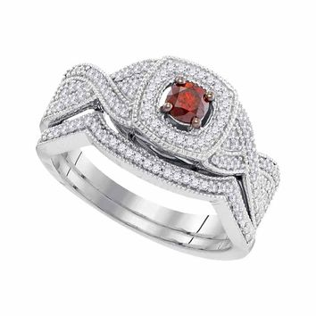 10kt White Gold Womens Round Red Color Enhanced Diamond Twist Bridal Wedding Engagement Ring Band Set 1/2 Cttw