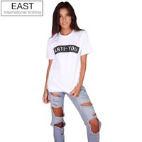 EAST KNITTING H934 Summer Style 2016 Casual Women T Shirt White Short Sleeve  Couple Tshirts Anti You Printed Graphic Tees