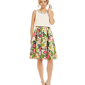 Eliza J Floral-Print Popover Dress | Dillards.com